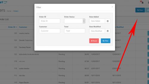 Компактный фильтр товаров и заказов в модальном окне для Opencart 2